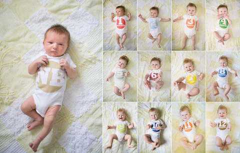 Take adorable milestone photos during the first year with these FREE monthly baby photo signs, plus a couple tips from a professional photographer!