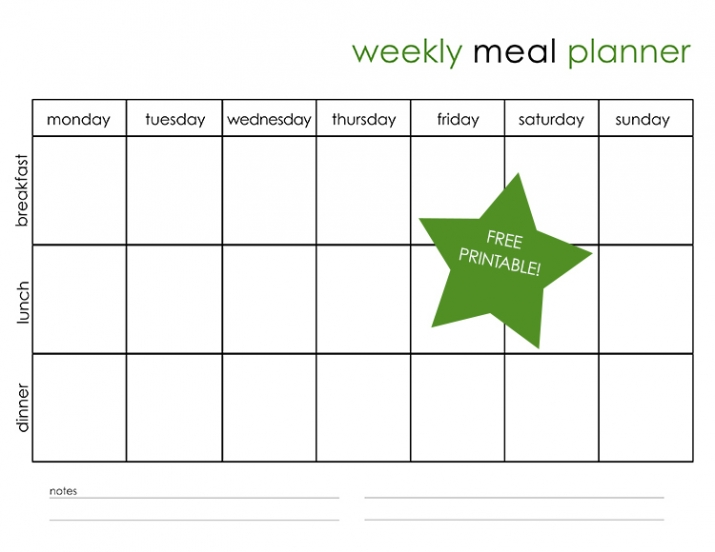 My weekly meal planning free printable miss freddy - Wonderful kitchen layout plans for totally comfortable cooking time ...