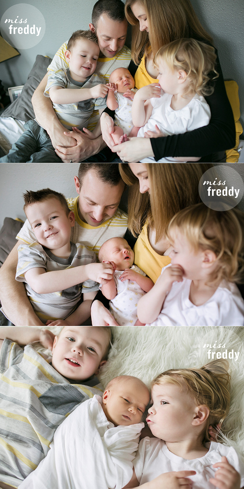 Newborn with siblings and family.  Photos by Seattle/Snoqualmie newborn photographer.