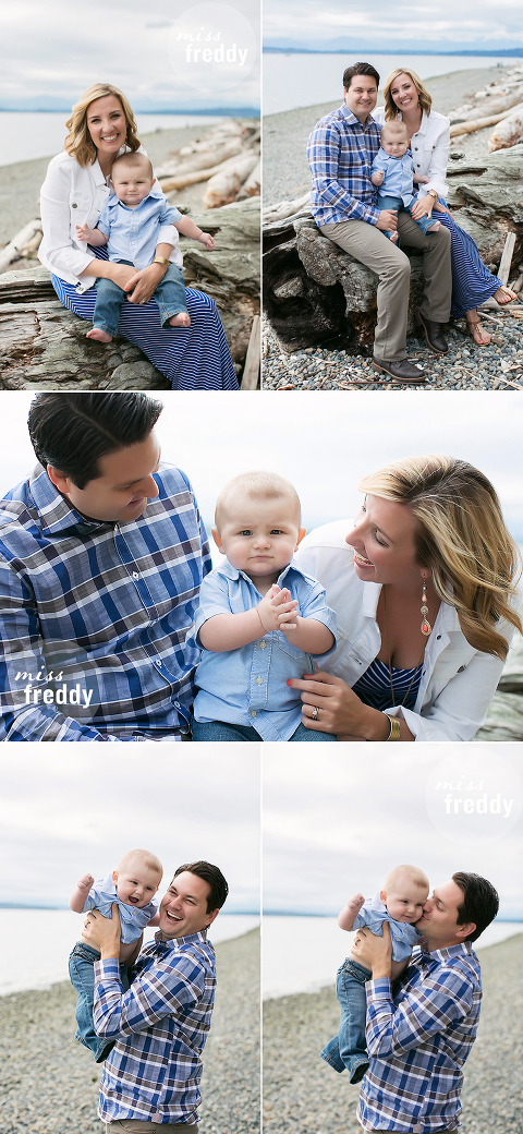 Cute poses for a six month baby photo session by Miss Freddy, West Seattle baby photographer.