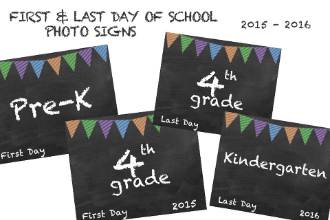 Document the big back-to-school day with a FREE first day of school photo sign, designed by Miss Freddy (a kids photographer in Seattle)! Simply print the necessary grade for your child and have them hold it for a quick photo!