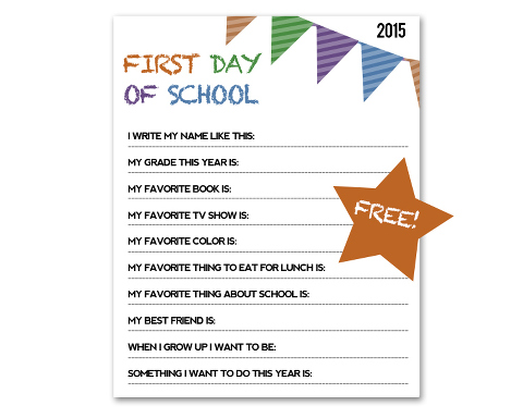 Document the big back-to-school day with a FREE interview printable, designed by Miss Freddy (a kids photographer in Seattle)! A great way to keep track of your child's handwriting & personality each year.