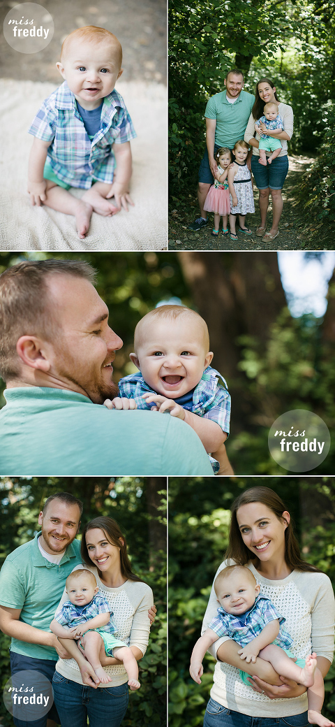 Cute six month old and family poses from Miss Freddy, Seattle/Burien kids photographer.