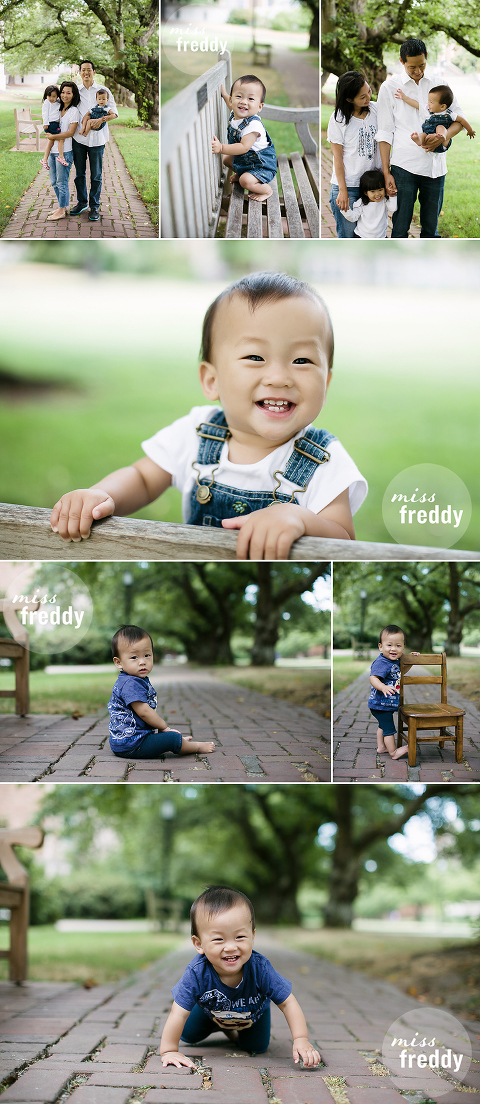 Cute poses for family with young children. Love this photo session by Miss Freddy, Seattle baby photographer.