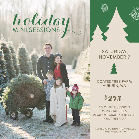 A holiday photo session in Seattle with Miss Freddy is the perfect way to get quick, affordable, beautiful family photos for your Christmas cards!