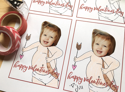 Use a photo to turn yourself into a Cupid... a free download for fun & easy DIY photo valentines! Available at missfreddy.com.