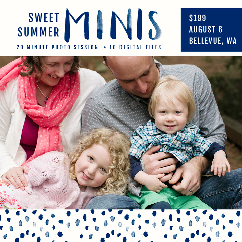 Seattle summer mini sessions with Miss Freddy are a great deal for updated family photos! They include the digital files and a print release!