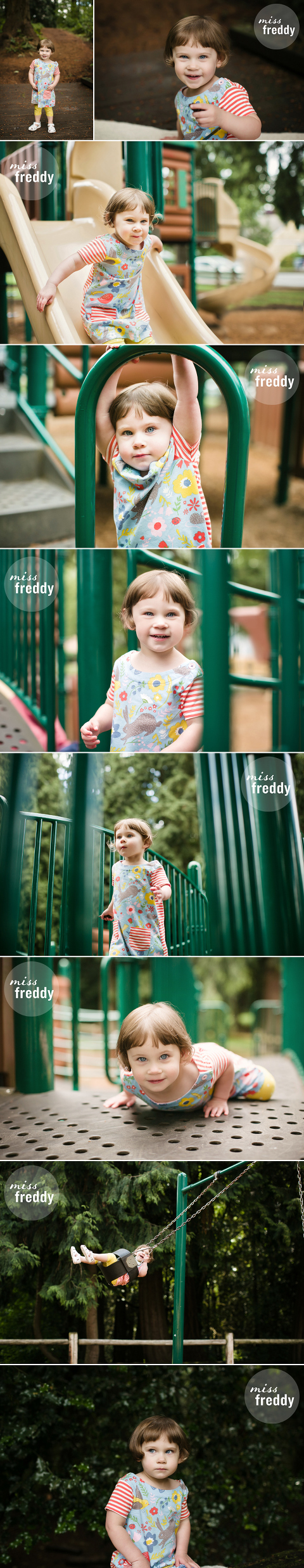 Fun photo session at a playground, by Miss Freddy, Denver kids photographer.