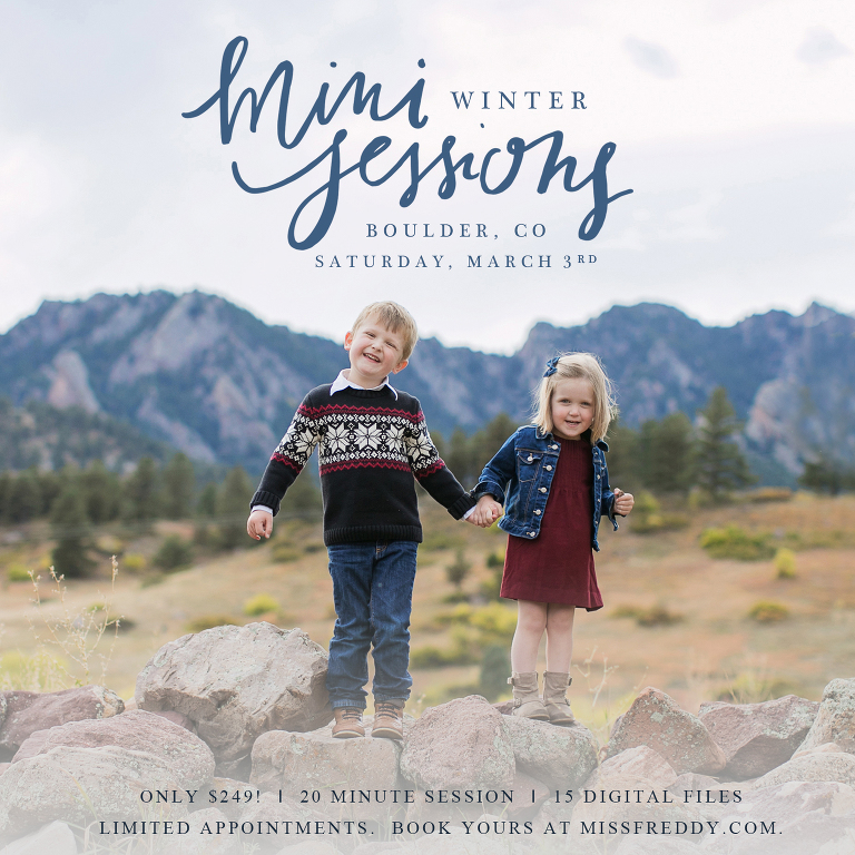 Miss Freddy is offering winter mini photo sessions in boulder, co!