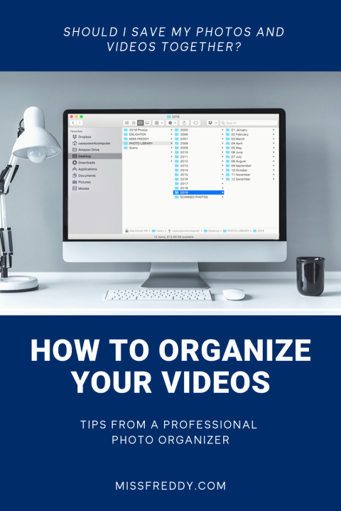 Should you organize videos and photos together?  Check out these tips from a Professional Photo Organizer!